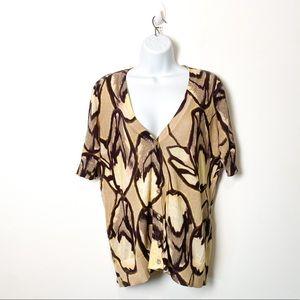 Ann Taylor Short Sleeve Tan Abstract Y2K Cotton Cardigan